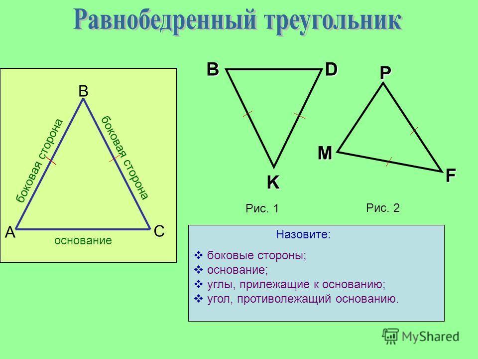 В А С боковая сторона основание Рис. 1 D KВ PM F Рис. 2 боковые стороны; основание; углы, прилежащие к основанию; угол, противолежащий основанию. Назовите: