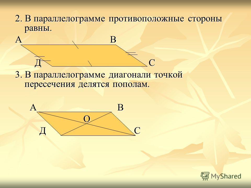 2. В параллелограмме противоположные стороны равны. А В Д С Д С 3. В параллелограмме диагонали точкой пересечения делятся пополам. А В А В О Д С Д С