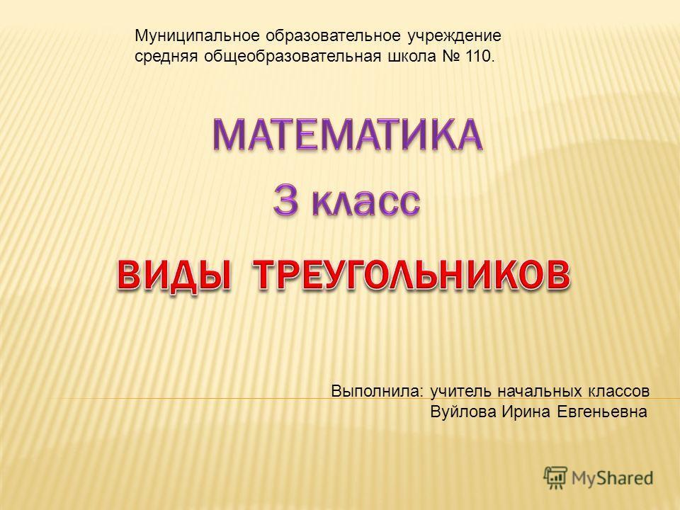 Муниципальное образовательное учреждение средняя общеобразовательная школа 110. Выполнила: учитель начальных классов Вуйлова Ирина Евгеньевна
