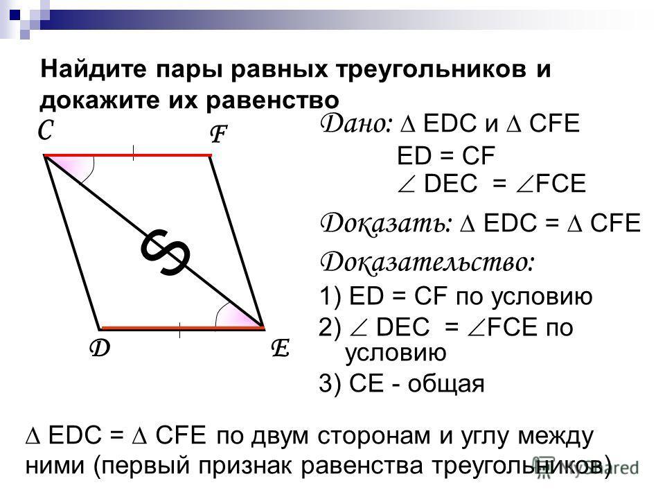 EDС = CFE по двум сторонам и углу между ними (первый признак равенства треугольников) Найдите пары равных треугольников и докажите их равенство C D F E Дано: EDС и CFE ED = CF DEC = FCE Доказать: EDС = CFE Доказательство: 1) ED = CF по условию 2) DEC