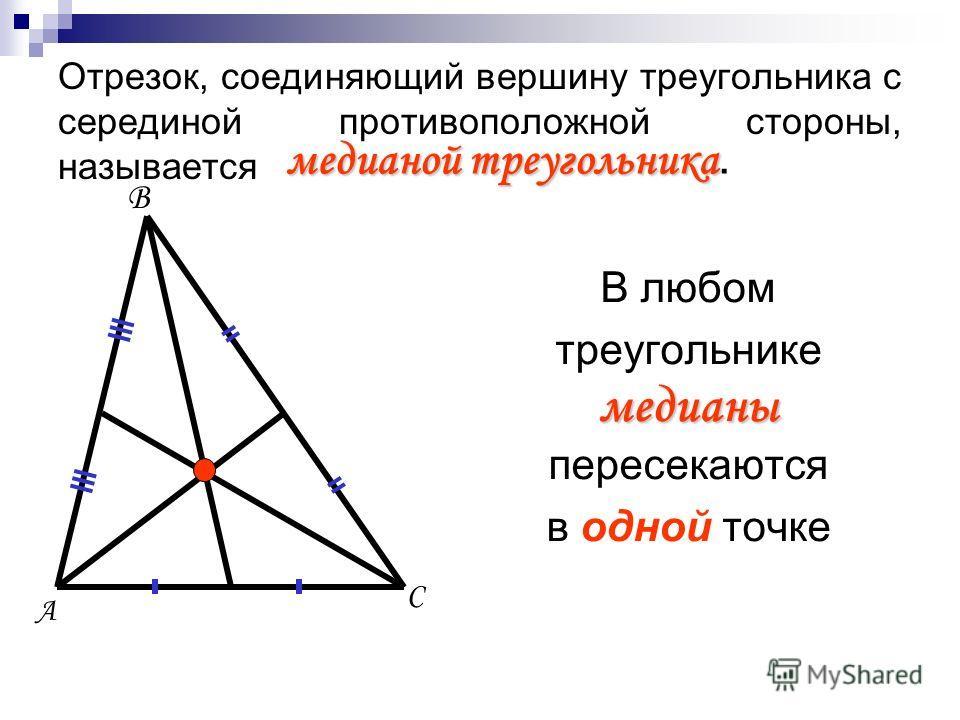 А В С Отрезок, соединяющий вершину треугольника с серединой противоположной стороны, называется медианой треугольника медианой треугольника. В любом треугольнике медианы пересекаются в одной точке