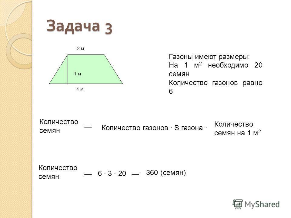 1 м 2 м 4 м Количество семян Количество газонов · S газона · Количество семян 6 · 3 · 20 360 (семян) Газоны имеют размеры: На 1 м 2 необходимо 20 семян Количество газонов равно 6 Задача 3 Количество семян на 1 м 2