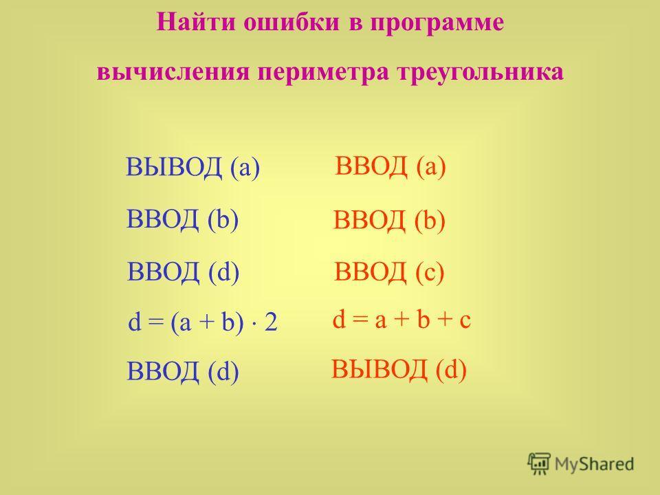 Найти ошибки в программе вычисления периметра треугольника ВЫВОД (a) ВВОД (b) d = (a + b) 2 ВВОД (d) ВВОД (a) ВВОД (b) d = a + b + c ВЫВОД (d) ВВОД (d)ВВОД (c)