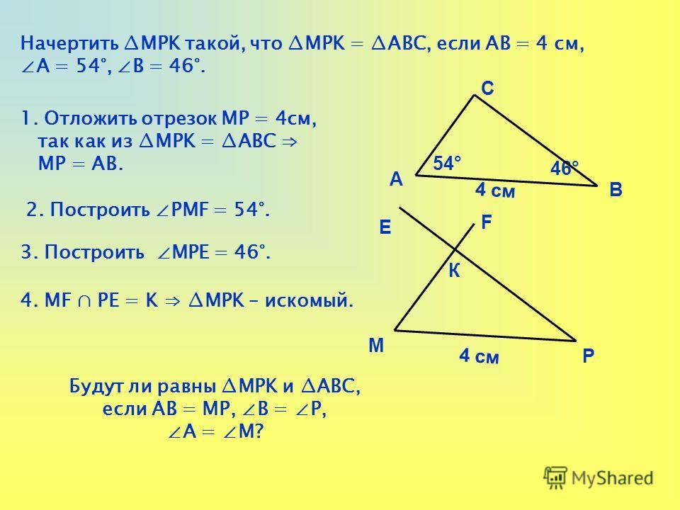 Начертить MРK такой, что MРK = АВС, если АВ = 4 см, А = 54°, В = 46°. 1. Отложить отрезок MР = 4см, так как из MРK = АВС МР = АВ. 2. Построить РМF = 54°. 3. Построить МРЕ = 46°. 4. МF РЕ = K MРK – искомый. А В С 54° 46° 4 см М Р К Е F Будут ли равны