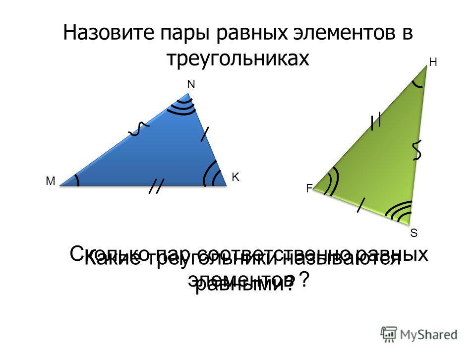 Назовите пары равных элементов в треугольниках M N K F S H Какие треугольники называются равными? Сколько пар соответственно равных элементов ?
