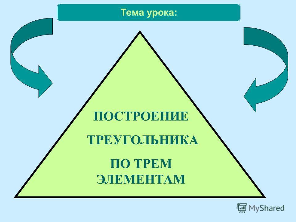 Тема урока: ПОСТРОЕНИЕ ТРЕУГОЛЬНИКА ПО ТРЕМ ЭЛЕМЕНТАМ
