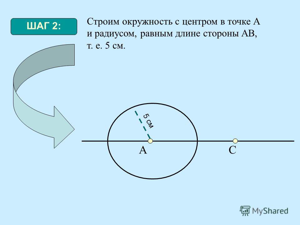 ШАГ 2: Строим окружность с центром в точке А и радиусом, равным длине стороны АВ, т. е. 5 см. АС 5 см