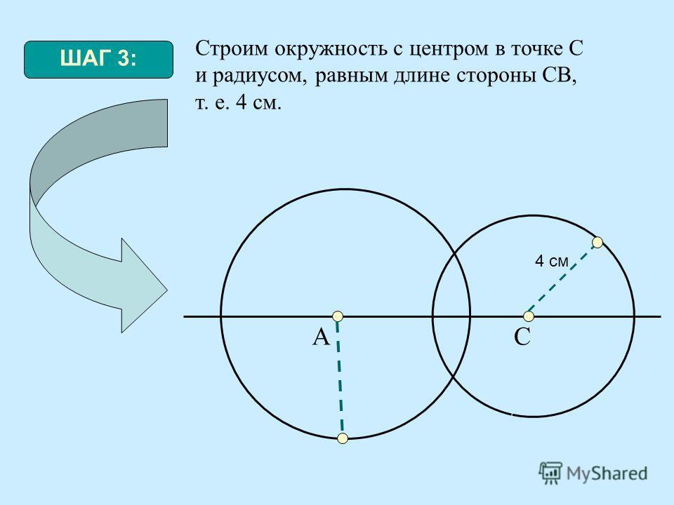 ШАГ 3: Строим окружность с центром в точке С и радиусом, равным длине стороны СВ, т. е. 4 см. АС 4 см