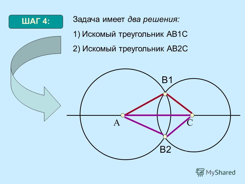 ШАГ 4: Задача имеет два решения: 1)Искомый треугольник АВ1С 2) Искомый треугольник АВ2С АС В1 В2