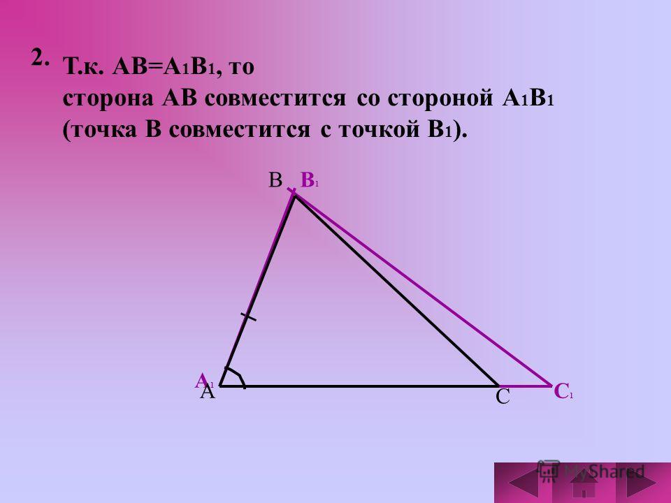 2. Т.к. АВ=А 1 В 1, то сторона АВ совместится со стороной А 1 В 1 (точка В совместится с точкой В 1 ). А1А1 В1В1 С1С1 А В С