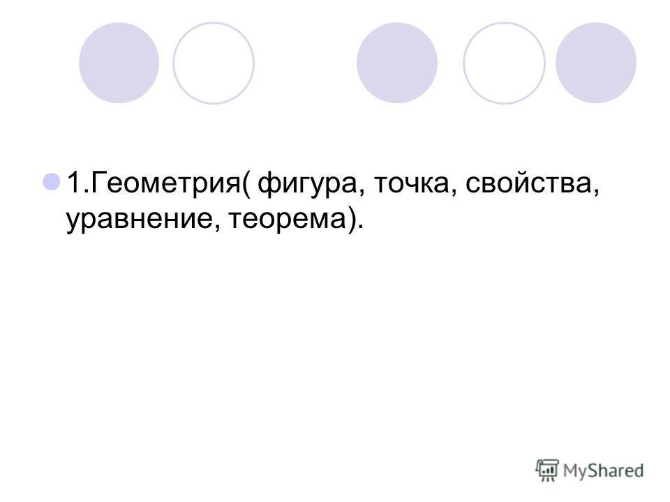 1.Геометрия( фигура, точка, свойства, уравнение, теорема).