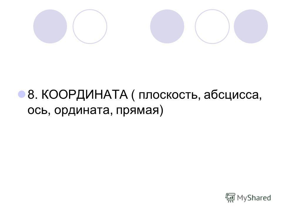 8. КООРДИНАТА ( плоскость, абсцисса, ось, ордината, прямая)