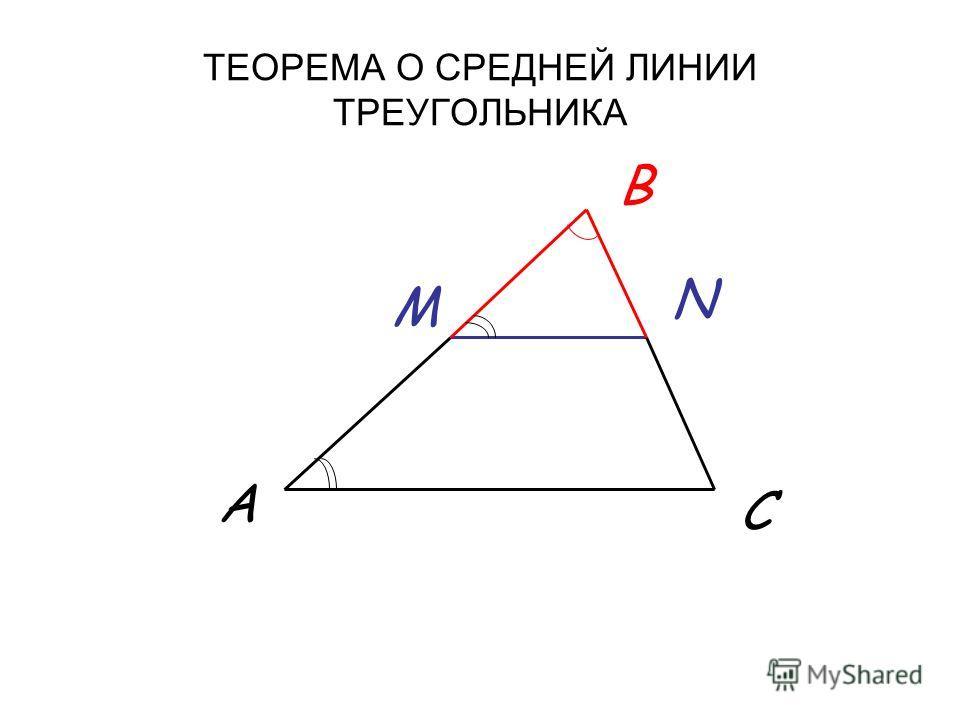 ТЕОРЕМА О СРЕДНЕЙ ЛИНИИ ТРЕУГОЛЬНИКА A B C M N