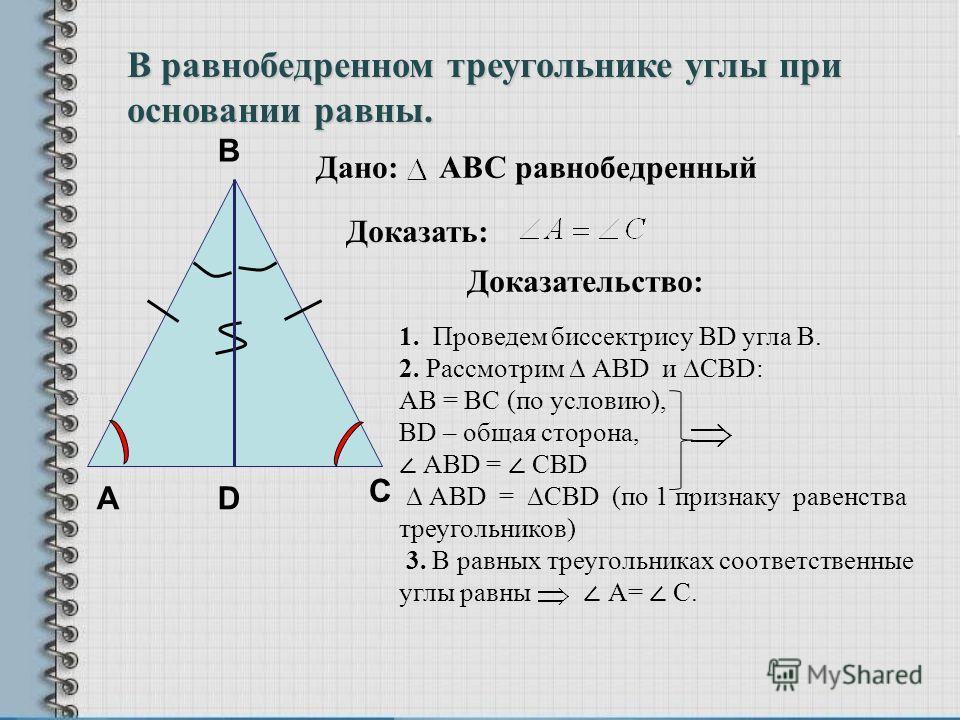 А В Доказательство: 1. Проведем биссектрису BD угла В. 2. Рассмотрим АВD и CBD: AB = BC (по условию), ВD – общая сторона, АBD = СBD АВD = CBD (по 1 признаку равенства треугольников) 3. В равных треугольниках соответственные углы равны А= С. D С Дано: