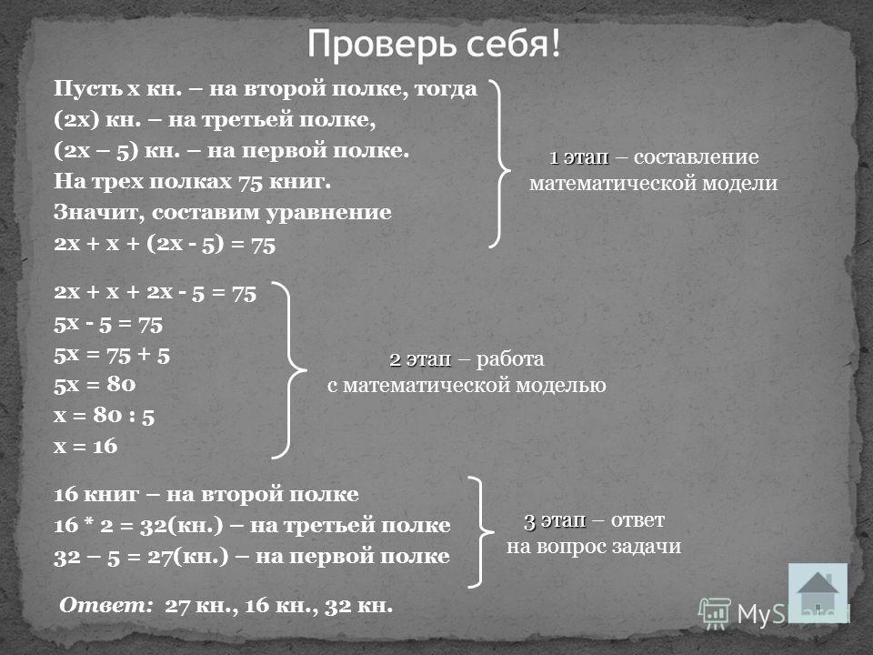 Пусть х кн. – на второй полке, тогда (2х) кн. – на третьей полке, (2х – 5) кн. – на первой полке. На трех полках 75 книг. Значит, составим уравнение 2х + х + (2х - 5) = 75 2х + х + 2х - 5 = 75 5х - 5 = 75 5х = 75 + 5 5х = 80 х = 80 : 5 х = 16 16 книг