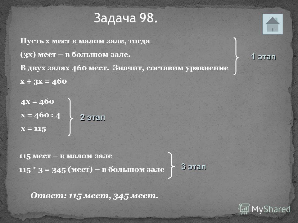 115 мест – в малом зале 115 * 3 = 345 (мест) – в большом зале 1 этап 2 этап 3 этап Пусть х мест в малом зале, тогда (3х) мест – в большом зале. В двух залах 460 мест. Значит, составим уравнение х + 3х = 460 4х = 460 х = 460 : 4 х = 115 Ответ: 115 мес