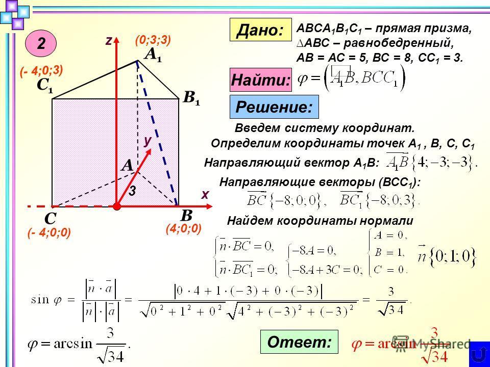 2 С1С1 А В С А1А1 В1В1 z у х Дано: ABCA 1 B 1 C 1 – прямая призма,АВС – равнобедренный, АB = АС = 5, ВС = 8, СС 1 = 3. Найти: Решение: Введем систему координат. Определим координаты точек А 1, B, С, C 1 3 (0;3;3) (4;0;0) (- 4;0;0) (- 4;0;3) Направляю