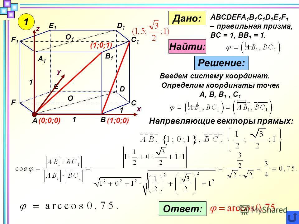 1 1 1 1 А В С D Е F А1А1 В1В1 С1С1 D1D1 Е1Е1 F1F1 О О1О1 Дано: ABCDEFA 1 B 1 C 1 D 1 E 1 F 1 – правильная призма, BC = 1, BB 1 = 1. Найти: Решение: Введем систему координат. z x y Определим координаты точек А, B, B 1, C 1 (0;0;0)(1;0;0) (1;0;1) Напра
