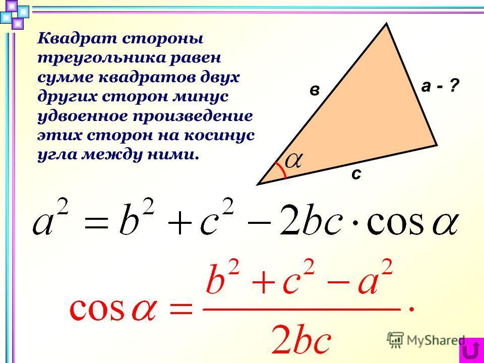а - ? в с Квадрат стороны треугольника равен сумме квадратов двух других сторон минус удвоенное произведение этих сторон на косинус угла между ними.