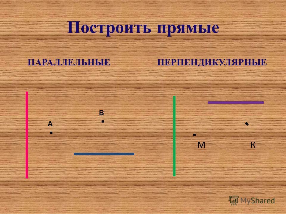 Построить прямые ПАРАЛЛЕЛЬНЫЕ ПЕРПЕНДИКУЛЯРНЫЕ М К А В
