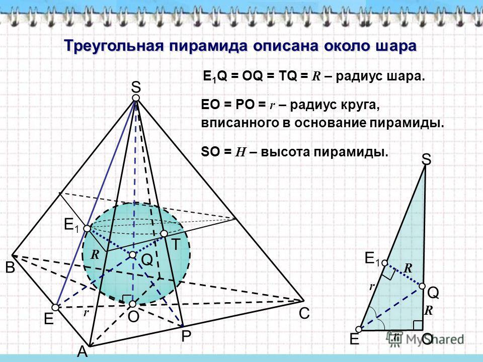 Треугольная пирамида описана около шара E 1 Q = OQ = TQ = R – радиус шара. EO = PO = r – радиус круга, вписанного в основание пирамиды. A B C O S P E Q E1E1 T r E1E1 E O Q S R R r r SO = H – высота пирамиды. R
