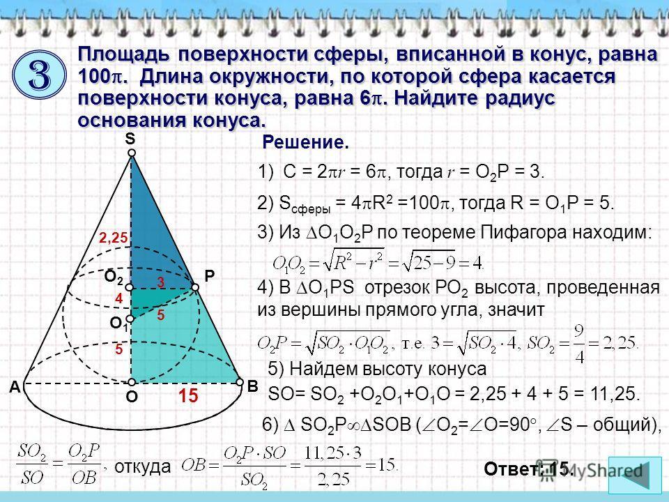 Площадь поверхности сферы, вписанной в конус, равна 100. Длина окружности, по которой сфера касается поверхности конуса, равна 6. Найдите радиус основания конуса. Решение. A B O S О1О1 РО2О2 1) C = 2 r = 6, тогда r = O 2 P = 3. 2) S сферы = 4 R 2 =10