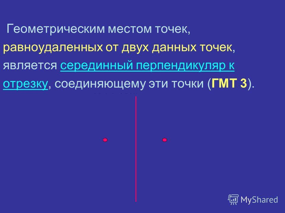 Геометрическим местом точек, равноудаленных от двух данных точек, является серединный перпендикуляр к отрезку, соединяющему эти точки (ГМТ 3).