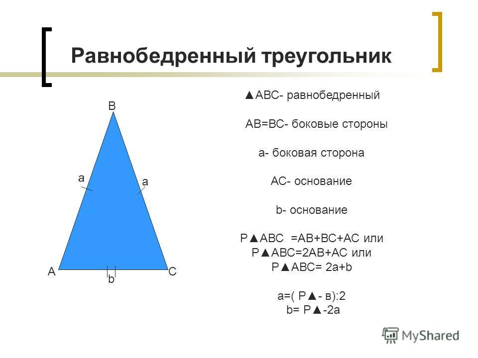 АВС- равнобедренный АВ=ВС- боковые стороны a- боковая сторона АС- основание b- основание РАВС =АВ+ВС+АС или РАВС=2АВ+АС или РАВС= 2a+b a=( Р- в):2 b= Р-2а Равнобедренный треугольник А В С a b a
