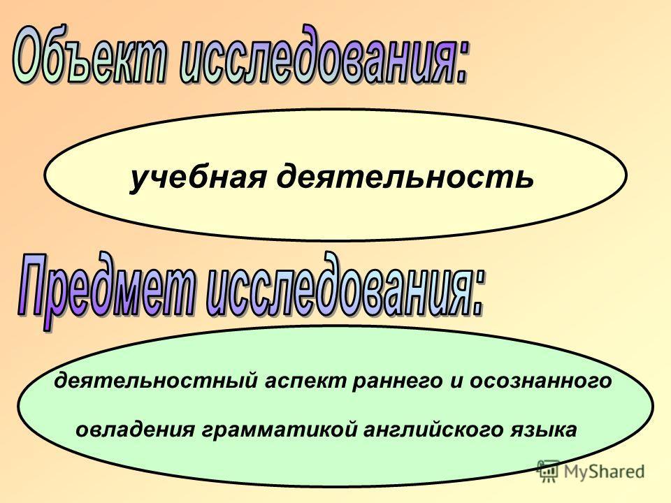 учебная деятельность деятельностный аспект раннего и осознанного овладения грамматикой английского языка