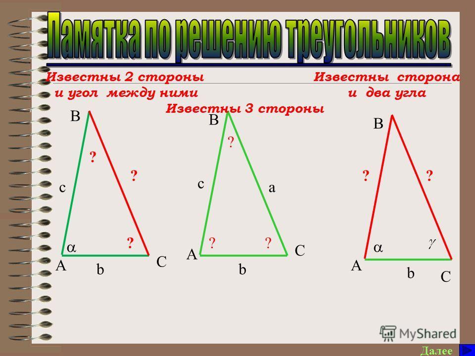 Далее ? a b ? c C В А с b А В C ? ? ? ? Известны 2 стороны и угол между ними Известны 3 стороны Известны сторона и два угла А В С b ??