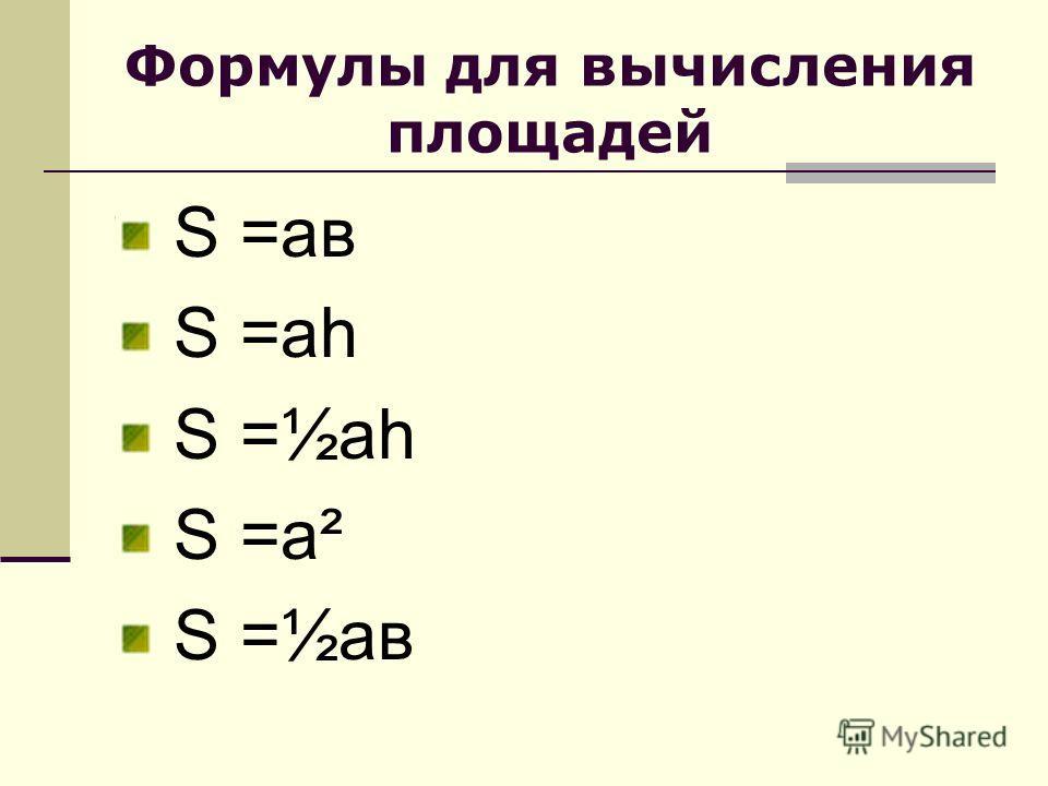 Формулы для вычисления площадей S =ав S =аh S =½аh S =а² S =½ав