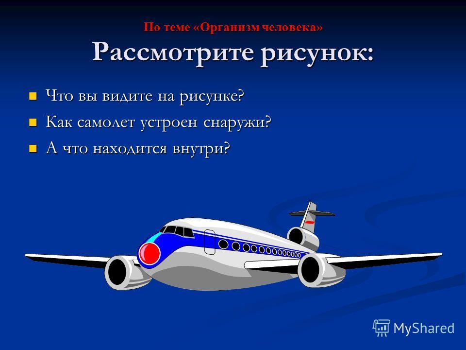 По теме «Организм человека» Рассмотрите рисунок: Что вы видите на рисунке? Как самолет устроен снаружи? А что находится внутри?