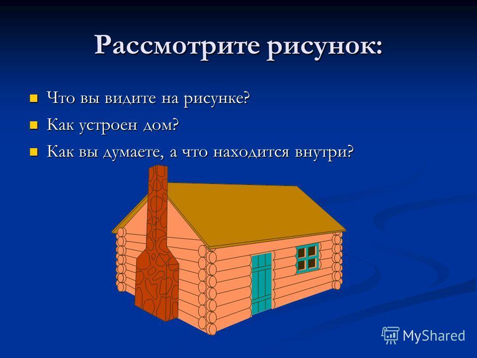 Рассмотрите рисунок: Что вы видите на рисунке? Как устроен дом? Как вы думаете, а что находится внутри?