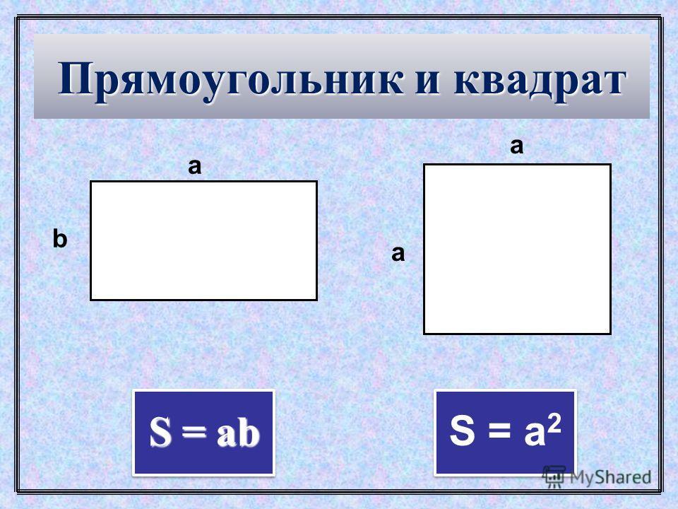 Свойства площади 3. Площадь квадрата равна квадрату его стороны. 1. Равные многоугольники имеют равные площади. 2. Если многоугольник составлен из нескольких многоугольников, то его площадь равна сумме площадей этих многоугольников.
