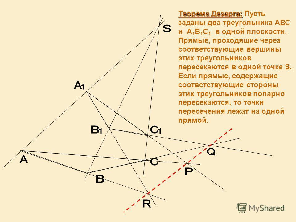 Теорема Дезарга: Теорема Дезарга: Пусть заданы два треугольника АВС и А 1 В 1 С 1 в одной плоскости. Прямые, проходящие через соответствующие вершины этих треугольников пересекаются в одной точке S. Если прямые, содержащие соответствующие стороны эти