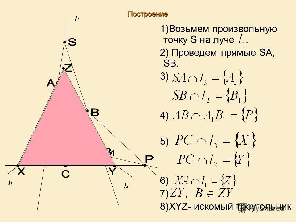 Построение 1)Возьмем произвольную точку S на луче. 1)Возьмем произвольную точку S на луче. 2) Проведем прямые SA, SB. 2) Проведем прямые SA, SB. 3) 3) 4) 4) 5) 5) 6) 6) 7), 7), 8)XYZ- искомый треугольник 8)XYZ- искомый треугольник l3l3 l2l2 l1l1