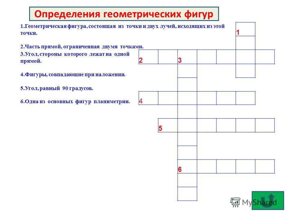 1.Геометрическая фигура, состоящая из точки и двух лучей, исходящих из этой точки. 1 2.Часть прямой, ограниченная двумя точками. 3.Угол, стороны которого лежат на одной прямой. 2 3 4.Фигуры, совпадающие при наложении. 5.Угол, равный 90 градусов. 6.Од