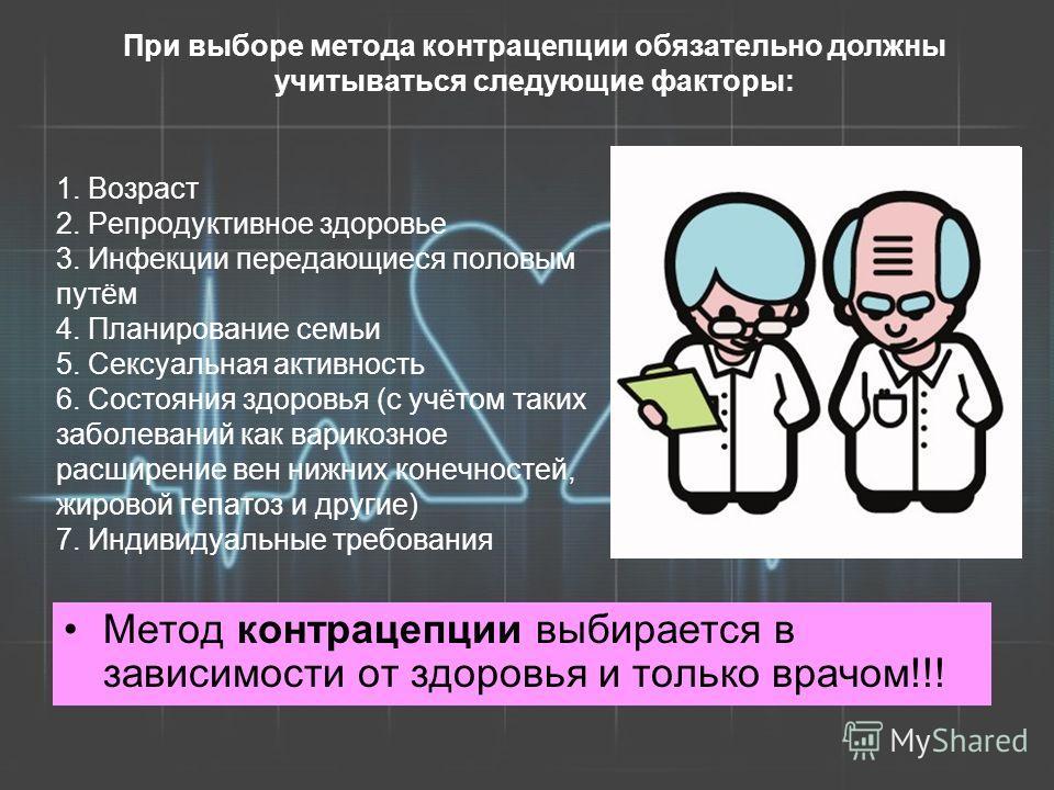 1. Возраст 2. Репродуктивное здоровье 3. Инфекции передающиеся половым путём 4. Планирование семьи 5. Сексуальная активность 6. Состояния здоровья (с учётом таких заболеваний как варикозное расширение вен нижних конечностей, жировой гепатоз и другие)