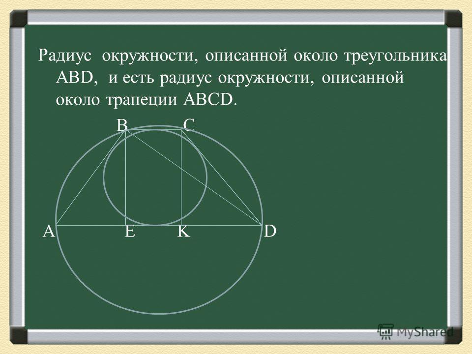 Радиус окружности, описанной около треугольника ABD, и есть радиус окружности, описанной около трапеции ABCD. B C A E K D