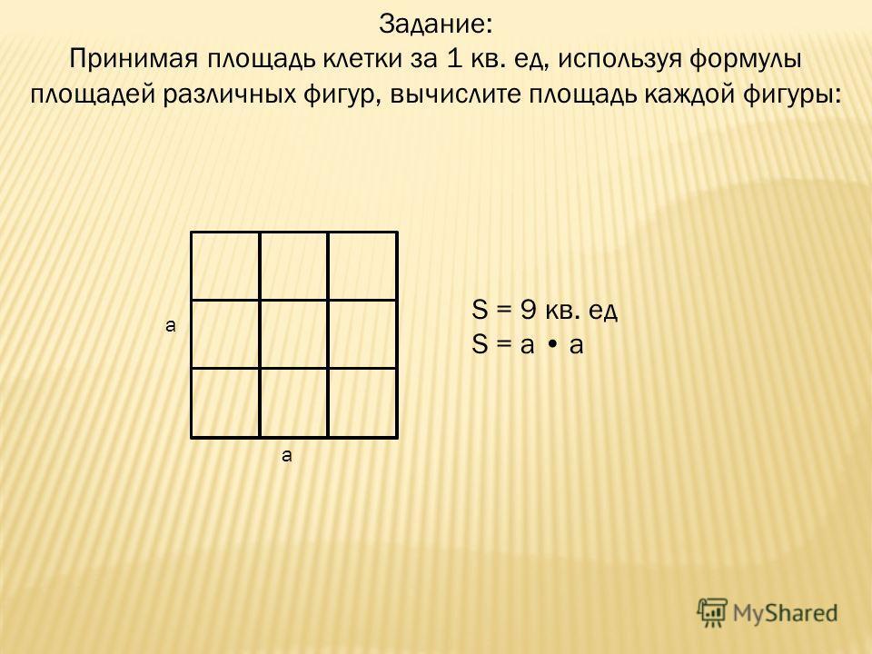 Задание: Принимая площадь клетки за 1 кв. ед, используя формулы площадей различных фигур, вычислите площадь каждой фигуры: a a S = 9 кв. ед S = a a