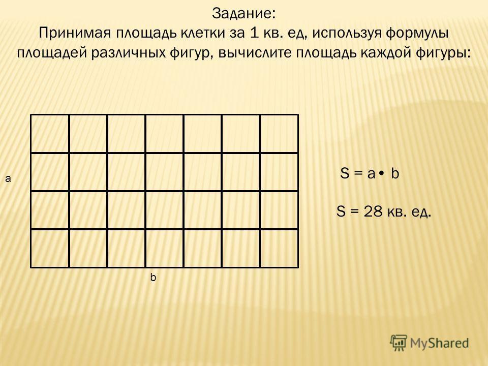 Задание: Принимая площадь клетки за 1 кв. ед, используя формулы площадей различных фигур, вычислите площадь каждой фигуры: a b S = a b S = 28 кв. ед.