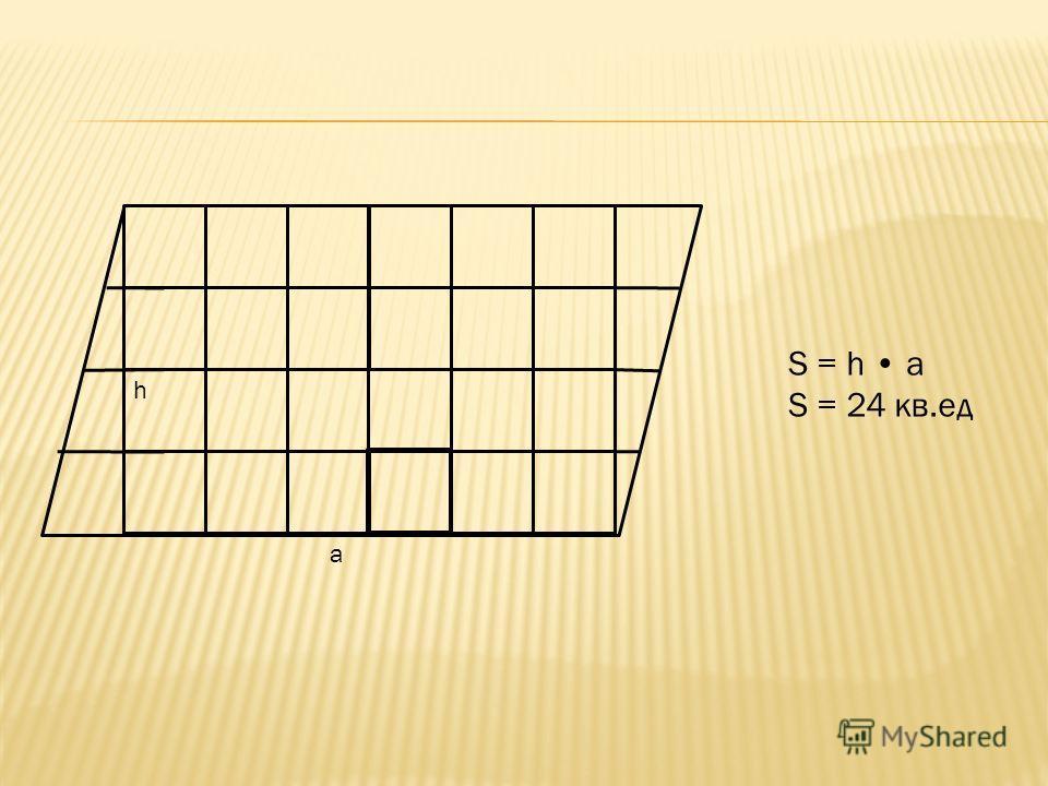 S = h a S = 24 кв.ед a h
