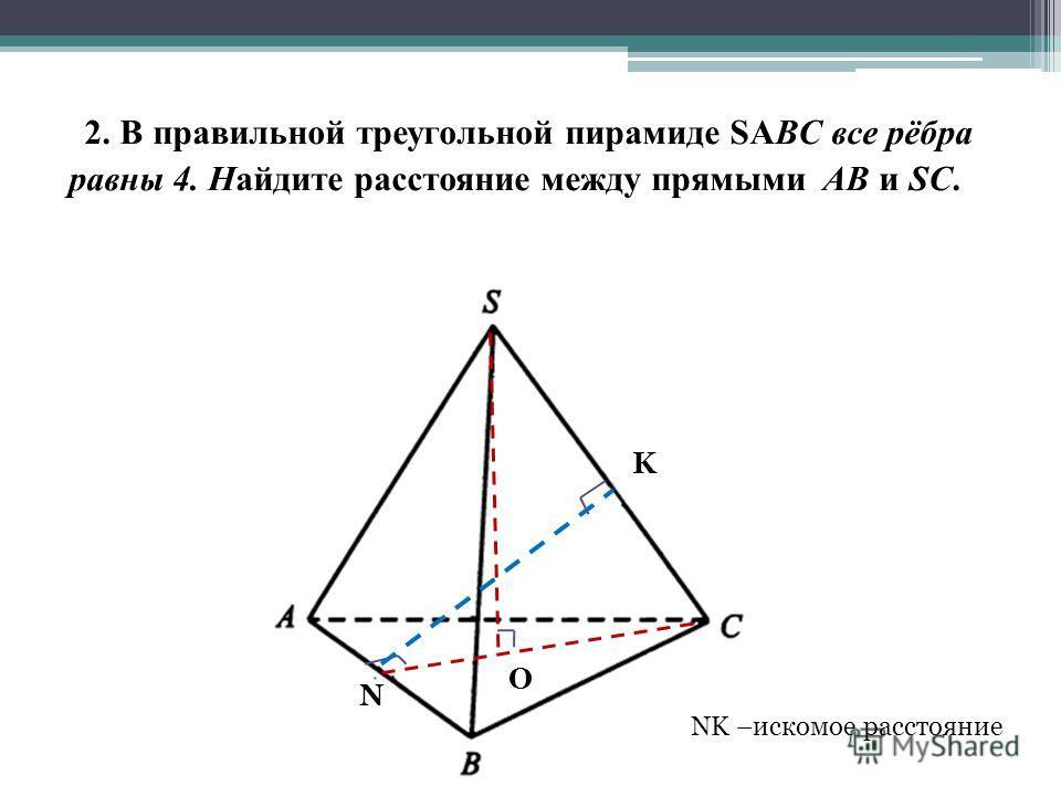 2. В правильной треугольной пирамиде SABC все рёбра равны 4. Найдите расстояние между прямыми AB и SC. O N K NK –искомое расстояние