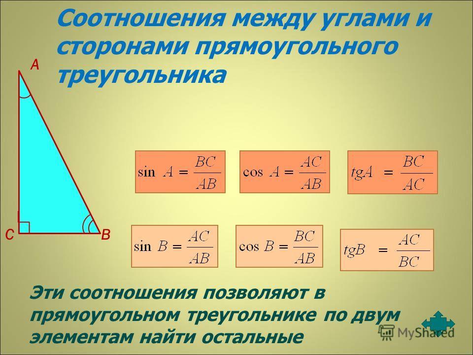 А СВ Соотношения между углами и сторонами прямоугольного треугольника Эти соотношения позволяют в прямоугольном треугольнике по двум элементам найти остальные