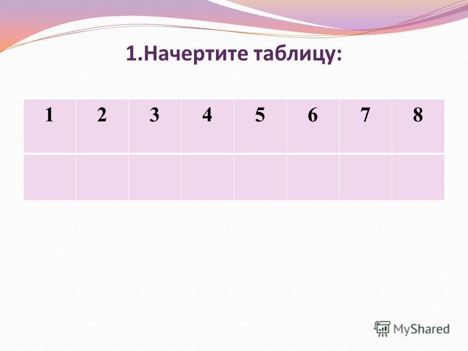 1.Начертите таблицу: 12345678