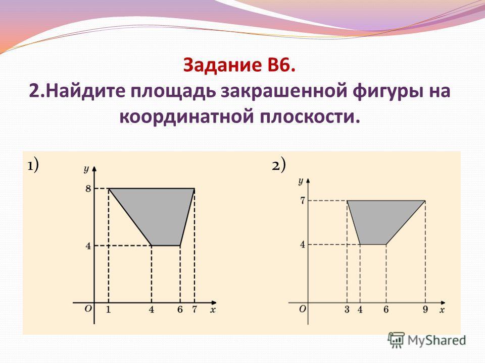 Задание В6. 2.Найдите площадь закрашенной фигуры на координатной плоскости. 1) 2)