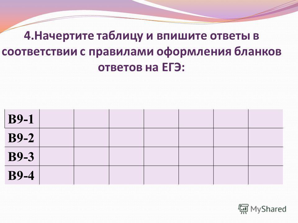 4.Начертите таблицу и впишите ответы в соответствии с правилами оформления бланков ответов на ЕГЭ: В9-1 В9-2 В9-3 В9-4