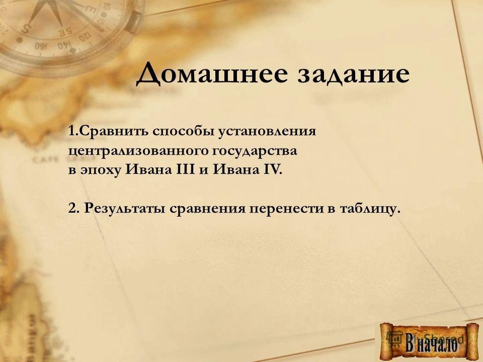Домашнее задание 1.Сравнить способы установления централизованного государства в эпоху Ивана III и Ивана IV. 2. Результаты сравнения перенести в таблицу.