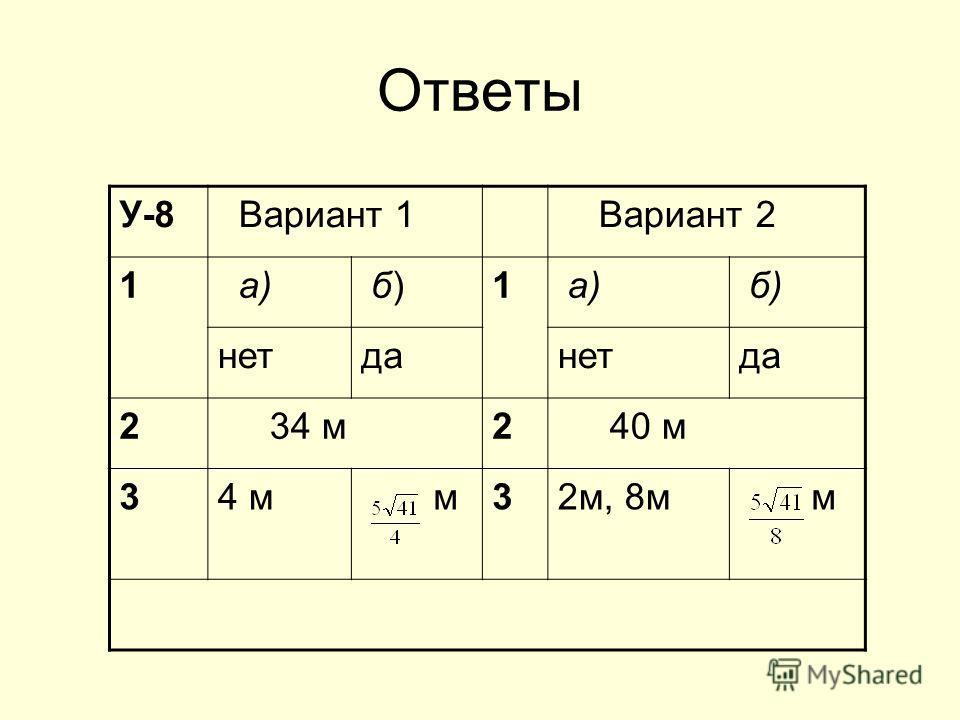 Ответы У-8 Вариант 1 Вариант 2 1 а) б) б)1 б) нетданетда 2 34 м2 40 м 34 м м32м, 8м м
