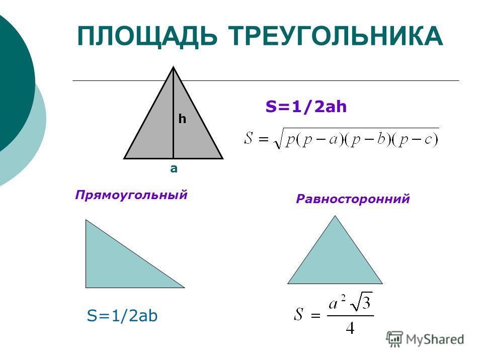 h a ПЛОЩАДЬ ТРЕУГОЛЬНИКА S=1/2ah Прямоугольный Равносторонний S=1/2ab